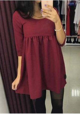 Solid O-Neck Three Quarter Sleeve Mini Dress without Necklace
