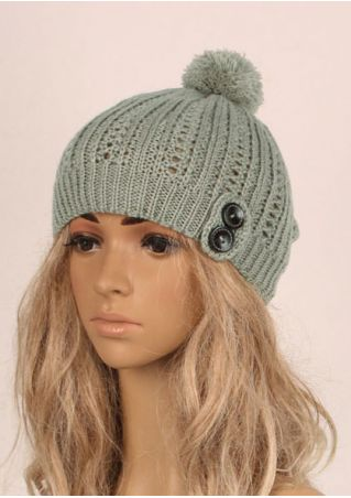 Solid Pompon Button Warm Knitted Hat