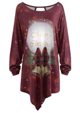 Plus Size Merry Christmas O-Neck Blouse