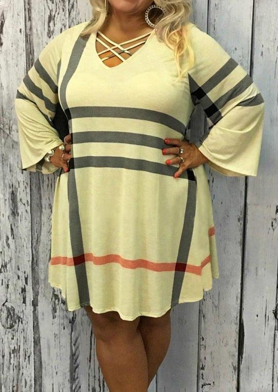 -Plus Size Striped Criss-Cross Mini Dress