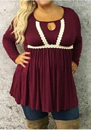 Plus Size Lace Splicing Hollow Out Blouse