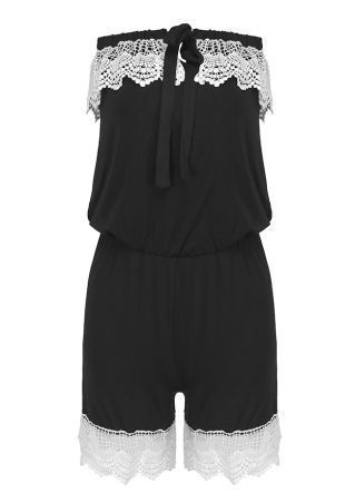 Lace Splicing Tie Strapless Romper