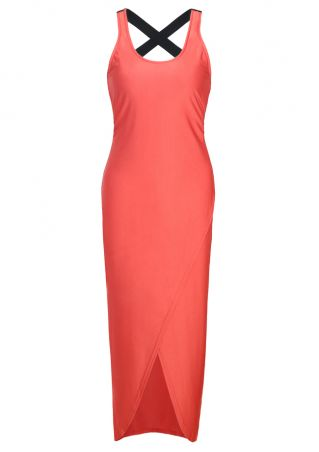 Color Block Criss-Cross Asymmetric Maxi Dress
