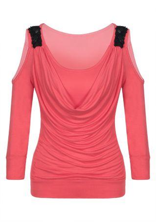 Color Block Draped Cold Shoulder Blouse