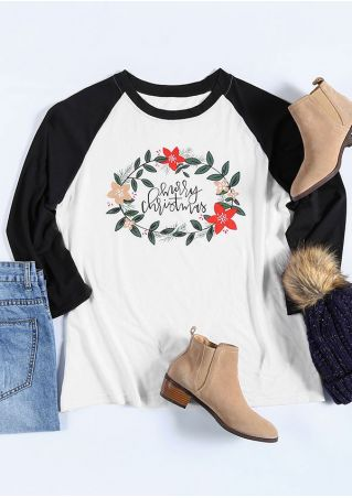 Plus Size Merry Christmas Floral Baseball T-Shirt