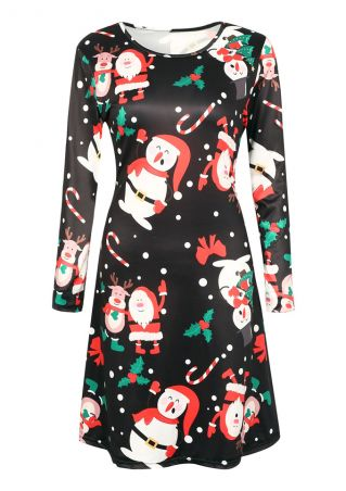 Christmas Santa Reindeer Long Sleeve Casual Dress