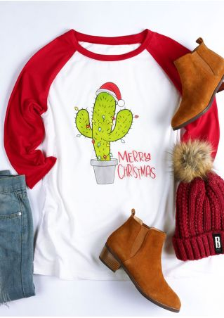 Merry Christmas Cactus O-Neck Baseball T-Shirt