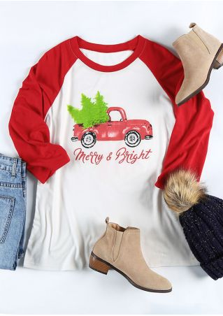 Christmas Merry & Bright Baseball T-Shirt