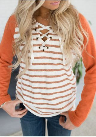 Striped Splicing Lace Up Hoodie without Necklace