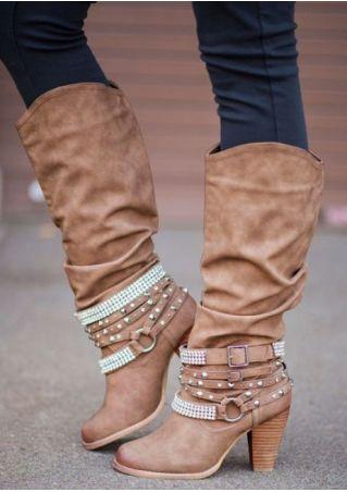 Solid Imitated Crystal Buckle Heeled Boots