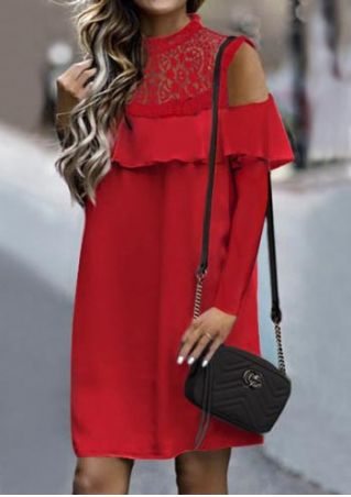 Solid Lace Floral Cold Shoulder Mini Dress