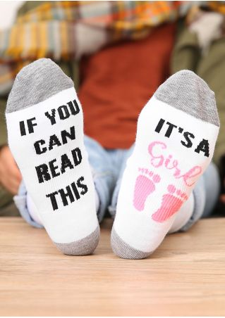 It's A Girl Footprint Socks