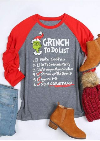 Christmas Grinch To Do List Baseball T-Shirt