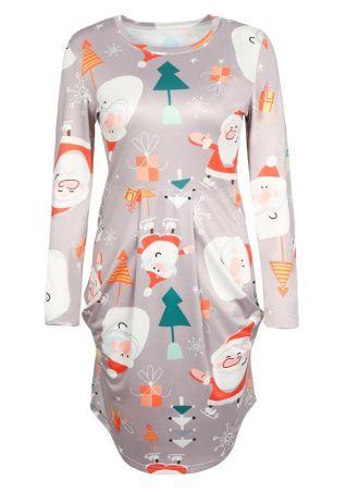Christmas Santa Claus Ruched Casual Dress