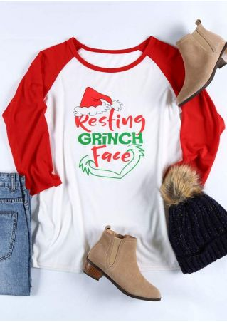 Christmas Resting Grinch Face Baseball T-Shirt