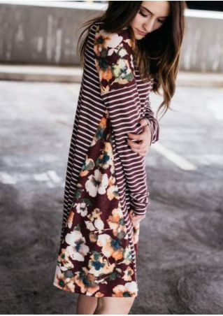 Floral Striped Splicing Mini Dress