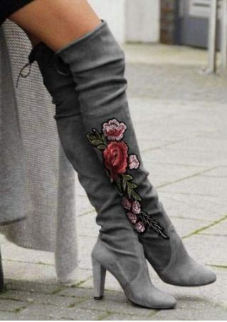 Applique Round Toe Heeled Boots