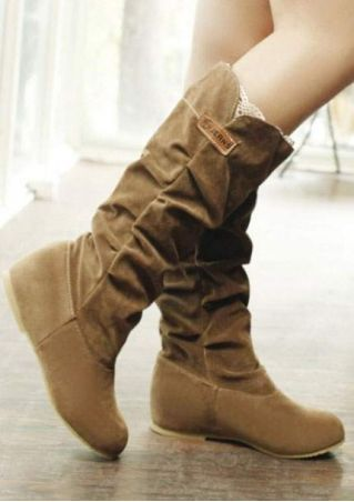 Solid Lace Splicing Flat Boots