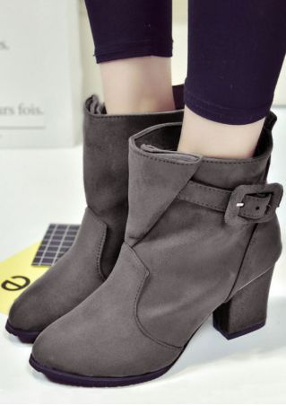 Solid Buckle Strap Round Toe Heeled Boots