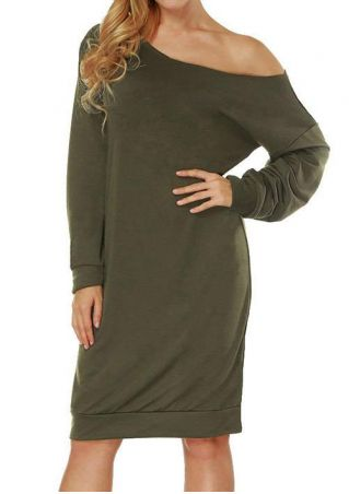Solid One Shoulder Casual Dress