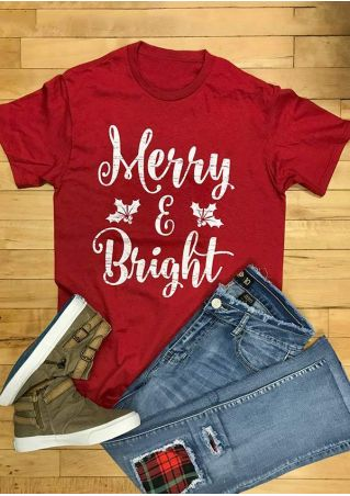 Christmas Merry & Bright O-Neck T-Shirt
