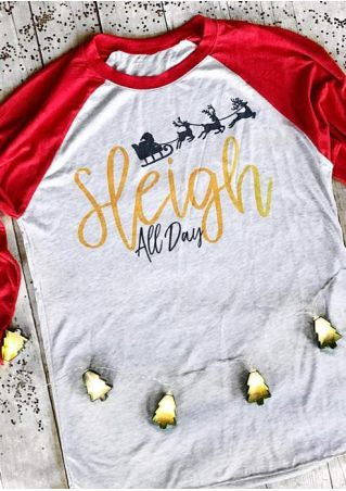 Christmas Sleigh All Day Baseball T-Shirt