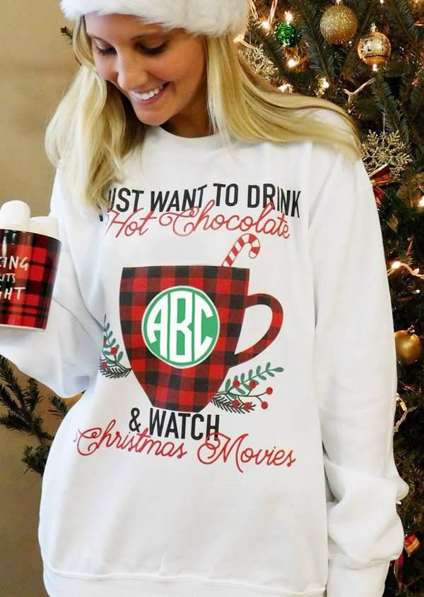 69a33a5108064 Monogram Hot Chocolate Christmas Movies Sweatshirt - Bellelily