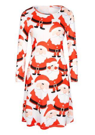 Christmas Printed Long Sleeve Swing Dress