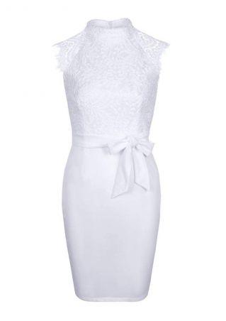 Solid Lace Splicing Mini Dress