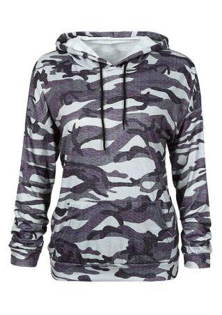 Camouflage Printed Pocket Long Sleeve Hoodie