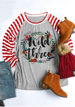 Floral Wild & Three Baseball T-Shirt