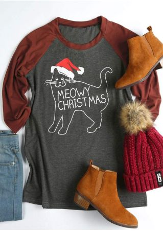 Meowy Christmas O-Neck Baseball T-Shirt
