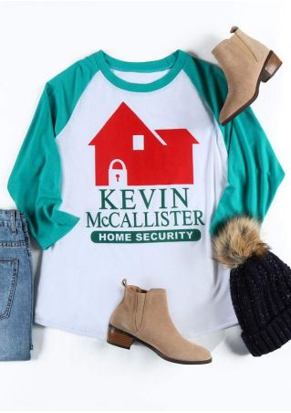 Plus Size Kevin Home Security O-Neck Baseball T-Shirt