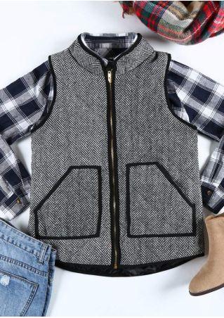 Zigzag Pocket Zipper Long Sleeve Vest