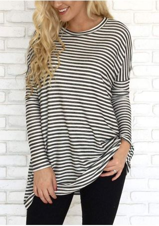 Striped O-Neck Long Sleeve Blouse