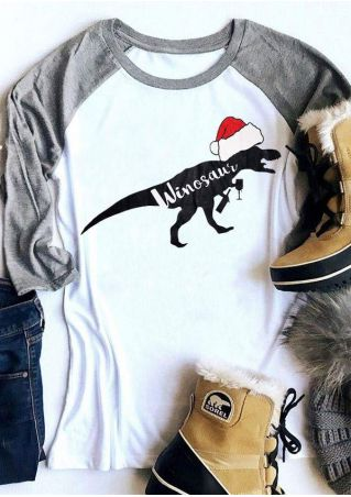 Christmas Winosaur O-Neck  Baseball T-Shirt