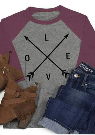 Love Arrow O-Neck Baseball T-Shirt