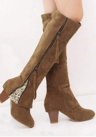 Lace Splicing Zipper Round Toe Boots