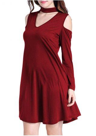 Solid Cold Shoulder V-Neck Mini Dress