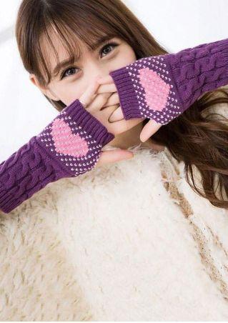 Heart Fingerless Warm Knitted Gloves
