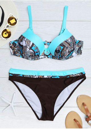 Printed Splicing Sexy Bikini Set