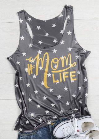 Mom Life Star O-Neck Tank