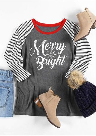Christmas Merry Bright Baseball T-Shirt
