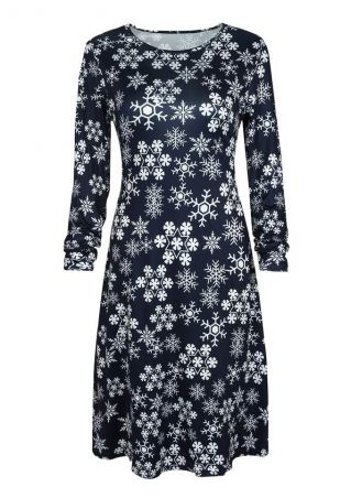 Christmas Snowflake O-Neck Casual Dress