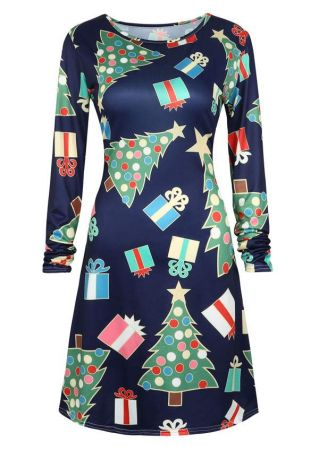 Christmas Printed Long Sleeve Dress