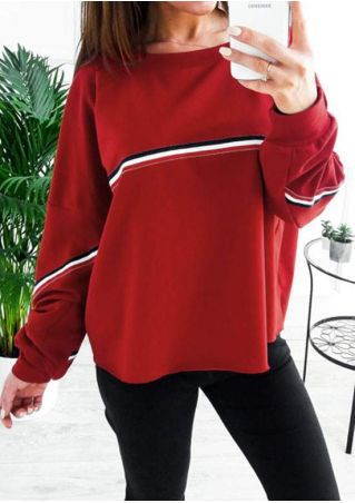 Striped Splicing Long Sleeve Sweatshirt