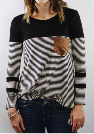 Striped Splicing Long Sleeve T-Shirt without Necklace
