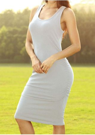 Solid O-Neck Bodycon Dress