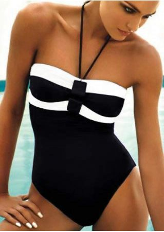 Color Block Halter Sexy One-Piece Swimsuit