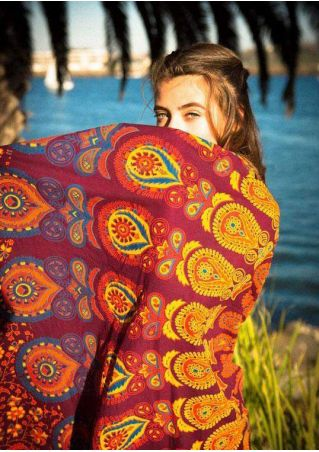 Printed Tassel Splicing Round Beach Blanket